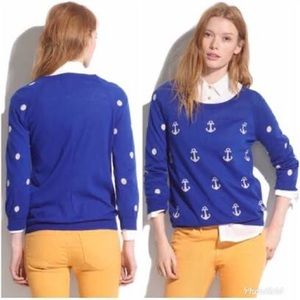 Madewell blue Anchor and Polka Dot Sweater
